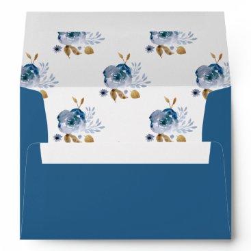 Watercolor Blue Gold Floral Wedding envelopes