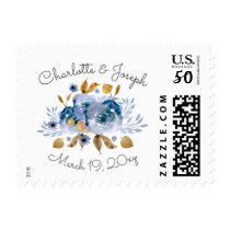 Watercolor Blue Gold Floral Wedding postage