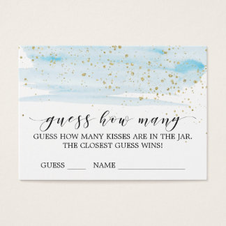Watercolor Blue & Gold Guess How Many Kisses Card