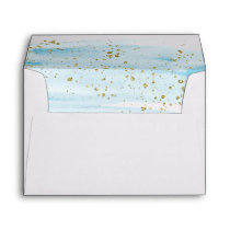 Watercolor Blue & Gold Lined Wedding Invitation Envelope