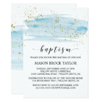 Watercolor Blue & Gold Sparkle Baptism Invitation