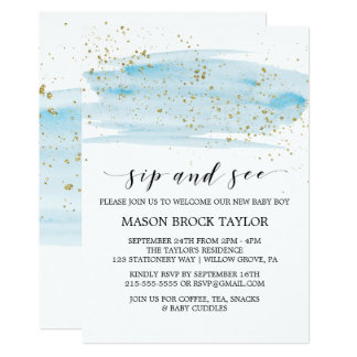 Watercolor Blue & Gold Sparkle Sip and See Invitation