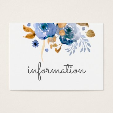 Watercolor Blue Gold Wedding information cards