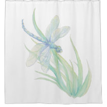 Watercolor Blue Green Dragonfly Art Shower Curtain