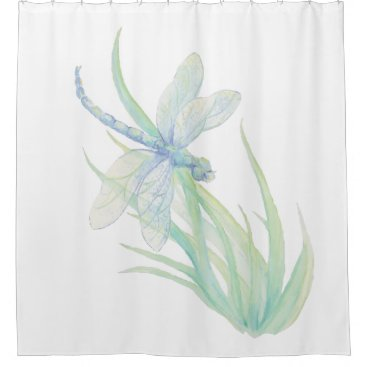 countrymousestudio Watercolor Blue Green Dragonfly Art Shower Curtain