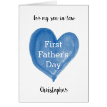 Watercolor Blue Heart 1st Father's Day Son-in-Law