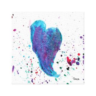 Watercolor Blue Heart Canvas Wall Art Print