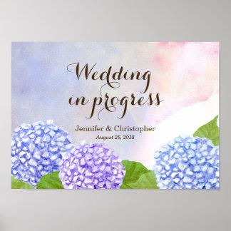 Watercolor Blue Hydrangea Wedding in Progress Poster