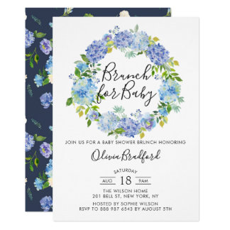 Watercolor Blue Hydrangeas Baby Shower Brunch Card