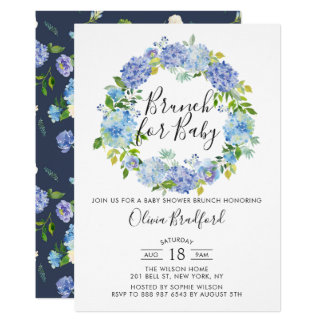 Watercolor Blue Hydrangeas Baby Shower Brunch Invitation