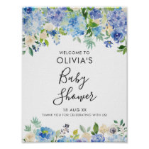 Watercolor Blue Hydrangeas Baby Shower Welcome II Poster