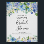"Watercolor Blue Hydrangeas Bridal Shower Welcome Poster<br><div class=""desc"">Whimsical and elegant floral bridal shower welcome sign featuring blue and purple watercolor hydrangeas,  peonies,  anemones and foliage. This bridal shower welcome sign is perfect for spring and summer bridal showers.</div>"