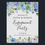 "Watercolor Blue Hydrangeas Engagement Party Poster<br><div class=""desc"">Watercolor Blue Hydrangeas Engagement Party Welcome Sign. Whimsical and elegant engagement party welcome sign featuring blue and purple watercolor hydrangeas,  peonies,  anemones and foliage. This floral welcome sign is perfect for spring and summer events.</div>"