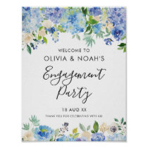 Watercolor Blue Hydrangeas Engagement Party Poster