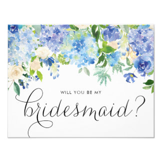 Watercolor Blue Hydrangeas Floral Be My Bridesmaid Invitation