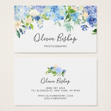 Professional Business Watercolor Blue Hydrangeas | Floral Business Card