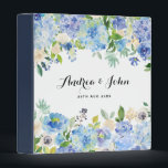 """Watercolor Blue Hydrangeas Floral Custom Wedding Binder<br><div class=""""desc"""">Customizable floral binder featuring watercolor hydrangeas,  peonies,  anemones and foliage. This floral binder will be perfect for personal use and an event like weddings,  bridal showers and baby showers.</div>"""
