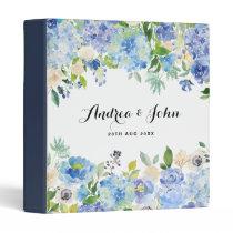 Watercolor Blue Hydrangeas Floral Custom Wedding Binder