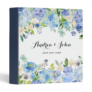 Watercolor Blue Hydrangeas Floral Custom Wedding Binder