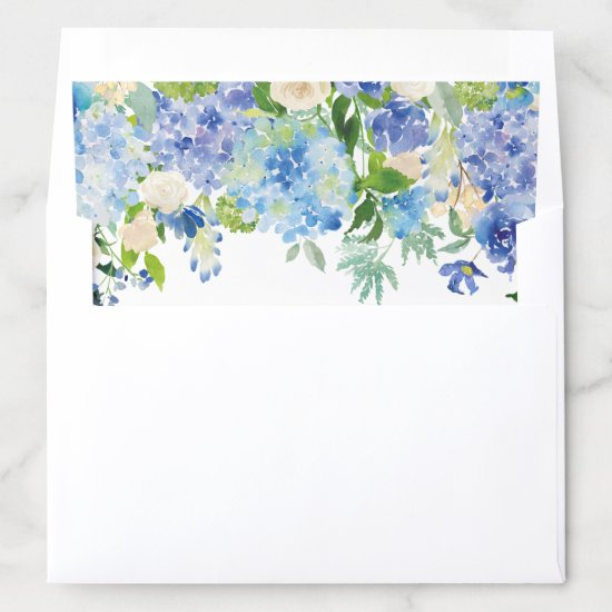 Watercolor Blue Hydrangeas Floral Garland I Envelope Liner