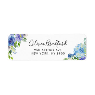 Watercolor Blue Hydrangeas Floral Label