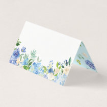 Watercolor Blue Hydrangeas Floral Place Cards II