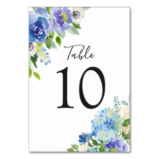Watercolor Blue Hydrangeas Floral Table Numbers