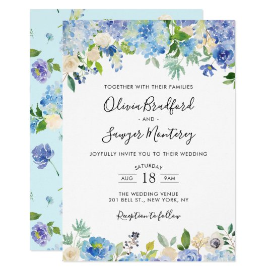 Watercolor Blue Hydrangeas Floral Wedding II Invitation ...