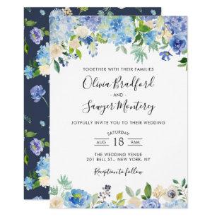 Watercolor Blue Hydrangeas Fl Wedding Invitation
