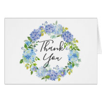 Watercolor Blue Hydrangeas Floral WreathThank You Card
