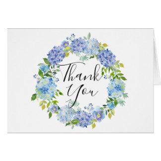 Watercolor Blue Hydrangeas Floral WreathThank You Card