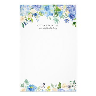 Watercolor Blue Hydrangeas Personalized Stationery