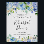 "Watercolor Blue Hydrangeas Rehearsal Dinner Poster<br><div class=""desc"">Watercolor Blue Hydrangeas Rehearsal Dinner Welcome Sign. Whimsical and elegant rehearsal dinner welcome sign featuring blue and purple watercolor hydrangeas,  peonies,  anemones and foliage. This floral welcome sign is perfect for spring and summer events.</div>"