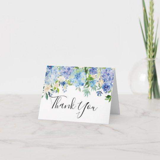 watercolor blue hydrangeas thank you card zazzle com