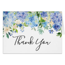 Watercolor Blue Hydrangeas Thank You Card