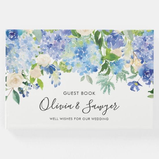 Watercolor Blue Hydrangeas Wedding Guest Book