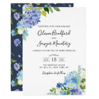Watercolor Blue Hydrangeas Wedding Invitation