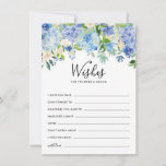 "Watercolor Blue Hydrangeas Wedding Well Wishes Advice Card<br><div class=""desc"">Watercolor Blue Hydrangeas Wedding Well Wishes Advice Card 