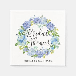 Watercolor Blue Hydrangeas Wreath Bridal Shower Paper Napkin