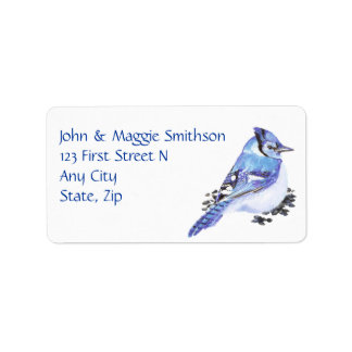 Watercolor Blue Jay Bird Custom Address Label