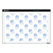 "watercolor blue jellyfish beach design 17"" laptop skin"