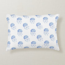 watercolor blue jellyfish beach design accent pillow