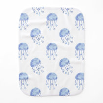 watercolor blue jellyfish beach design baby burp cloth