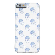 watercolor blue jellyfish beach design barely there iPhone 6 case