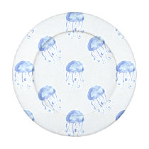 watercolor blue jellyfish beach design button covers