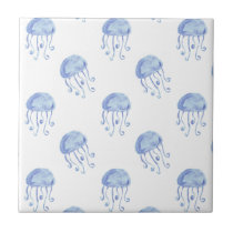 watercolor blue jellyfish beach design ceramic tile