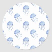 watercolor blue jellyfish beach design classic round sticker