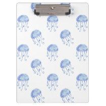 watercolor blue jellyfish beach design clipboard