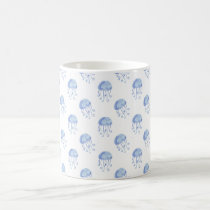 watercolor blue jellyfish beach design coffee mug
