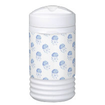 watercolor blue jellyfish beach design cooler